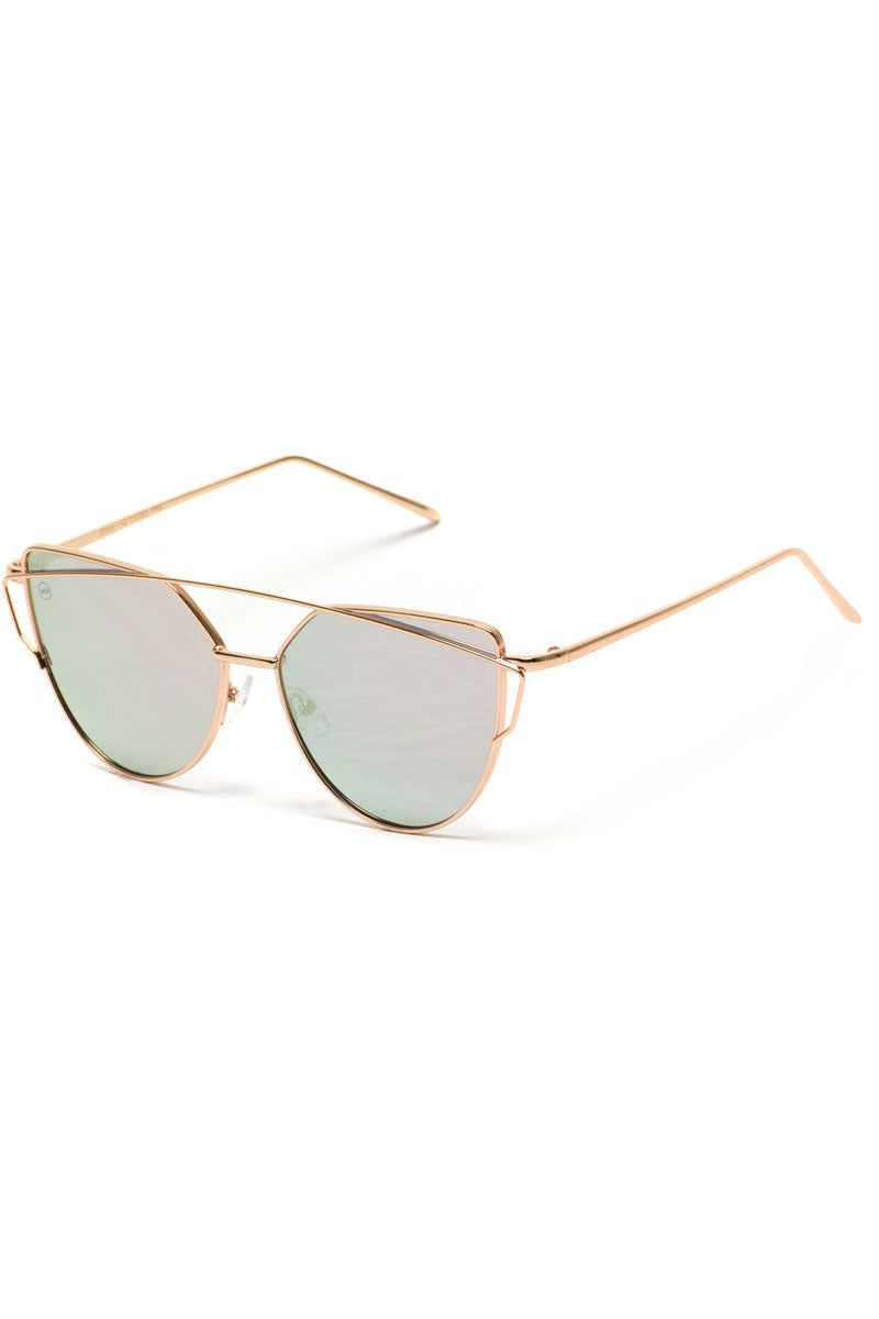 Gold and Pink Mirror Crossbar Cat Eye Sunglasses