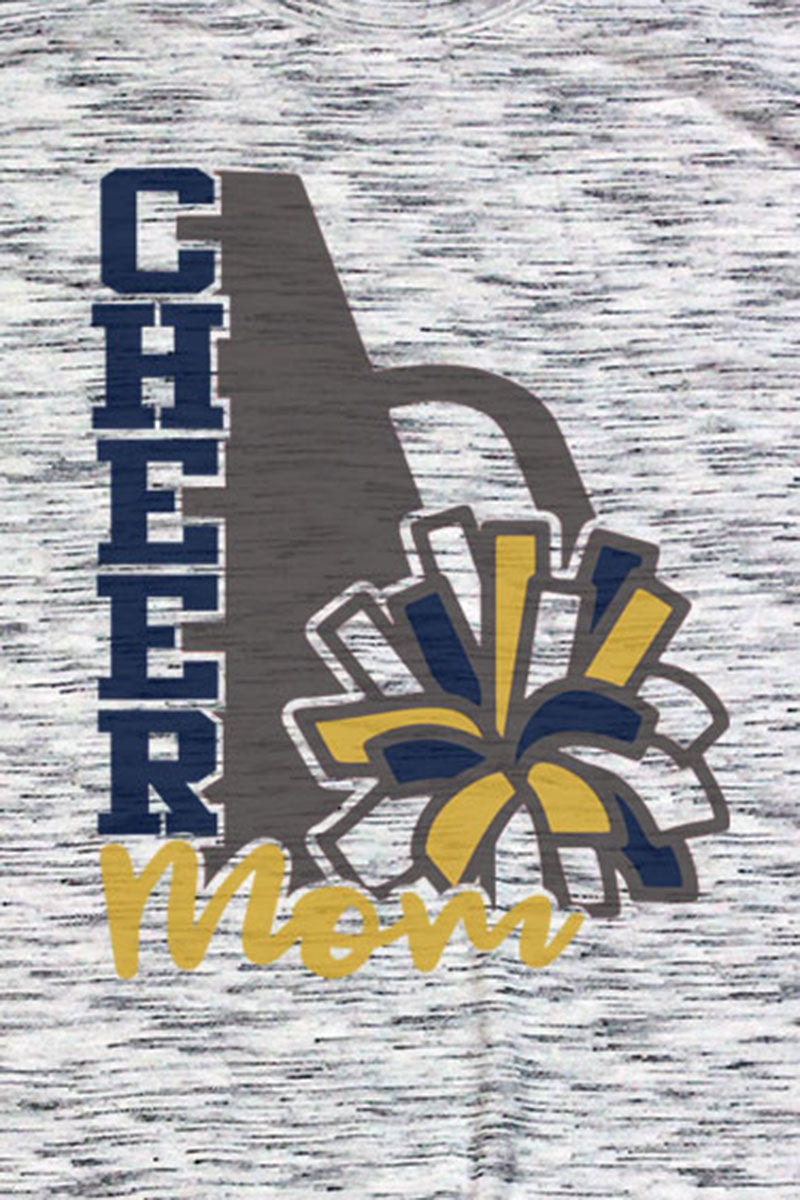 Cheer Mom - Navy & Gold Unisex White Marble Short Sleeve Tee