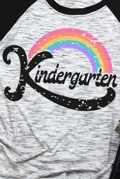 Kindergarten Teacher Rainbow White Marble and Black 3/4 Sleeve Raglan Tee