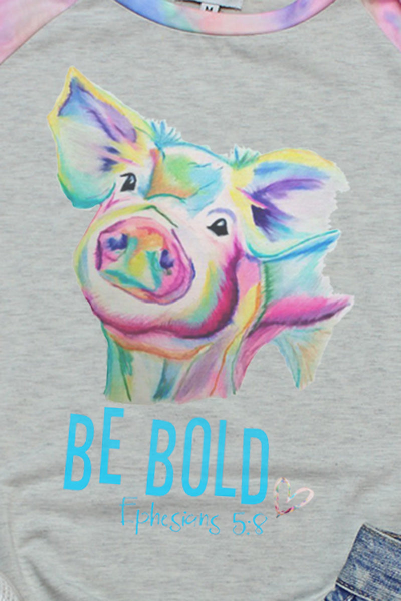 PRE-ORDER* Be Bold Watercolor Pig 3/4 Printed Sleeve Raglan Tee **EXPECTED SHIP DATE 4/15**