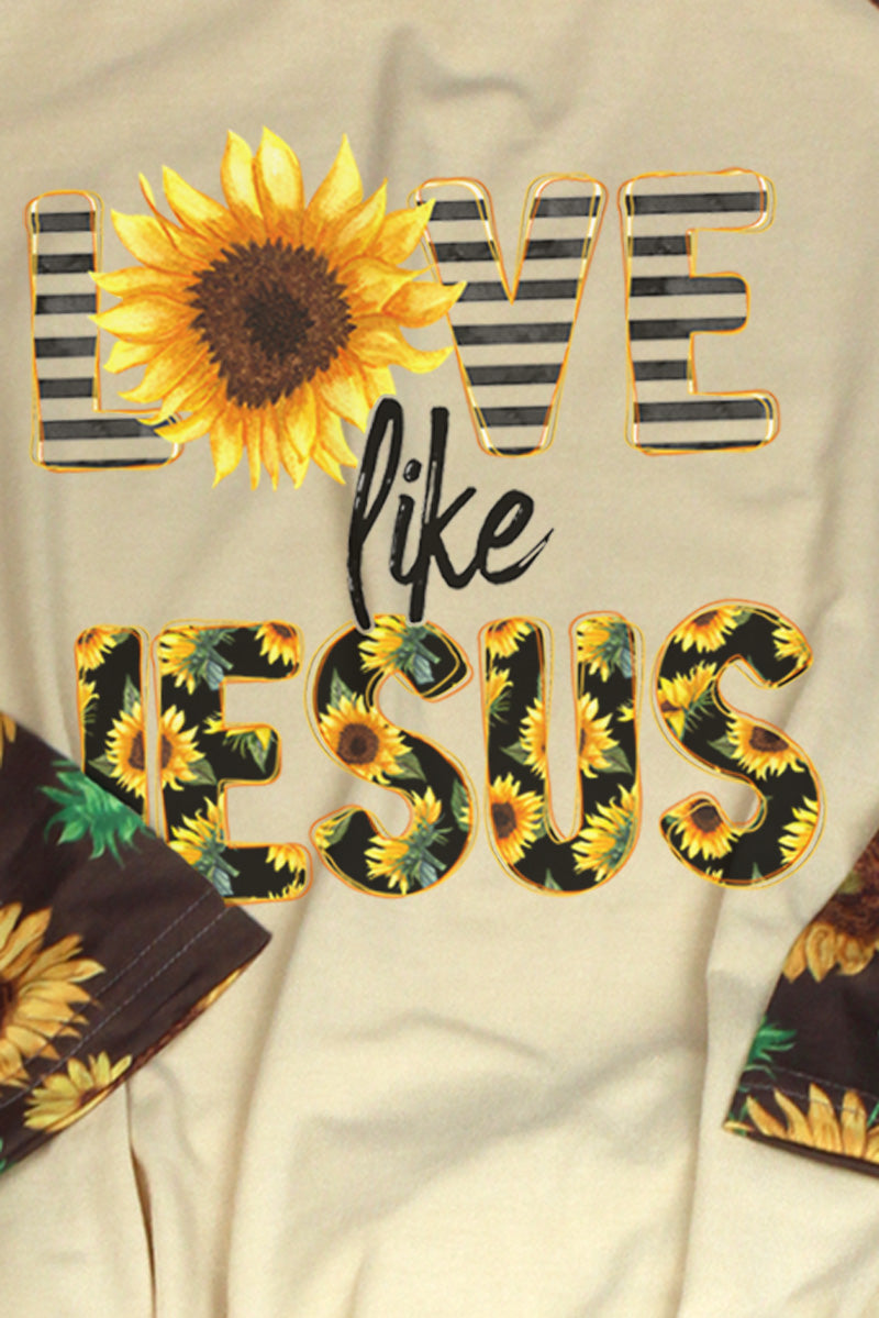 PRE-ORDER* Love Like Jesus Sunflower 3/4 Printed Sleeve Raglan Tee **EXPECTED SHIP DATE 4/15**