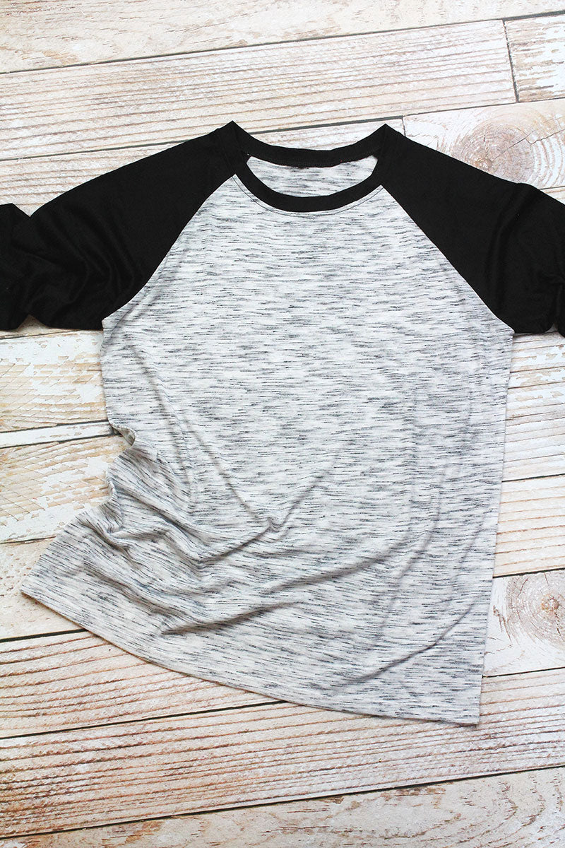 White Marble and Black 3/4 Sleeve Raglan Tee