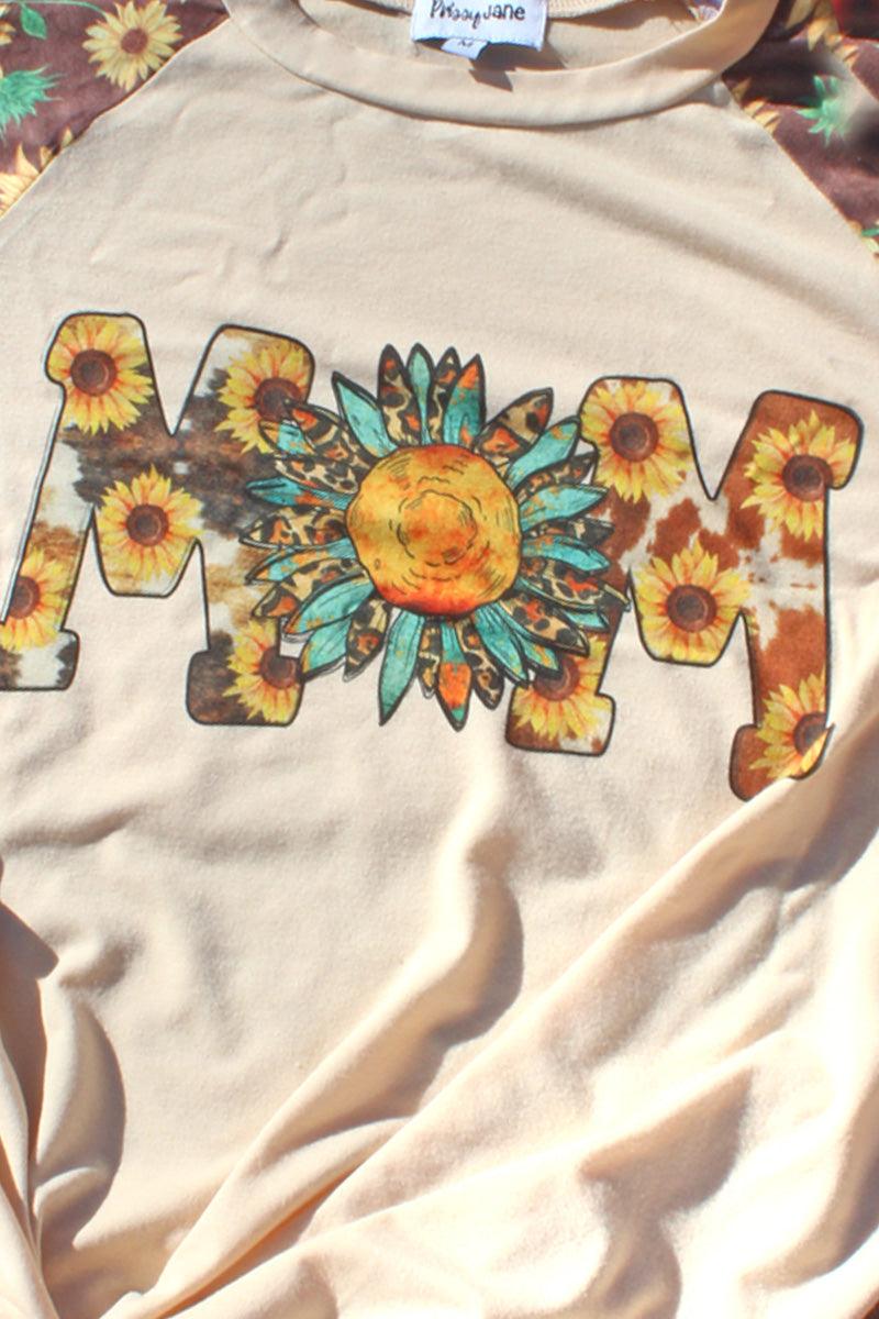 PRE-ORDER* Sunflower Mom Cowhide 3/4 Printed Sleeve Raglan Tee **EXPECTED SHIP DATE 4/15**