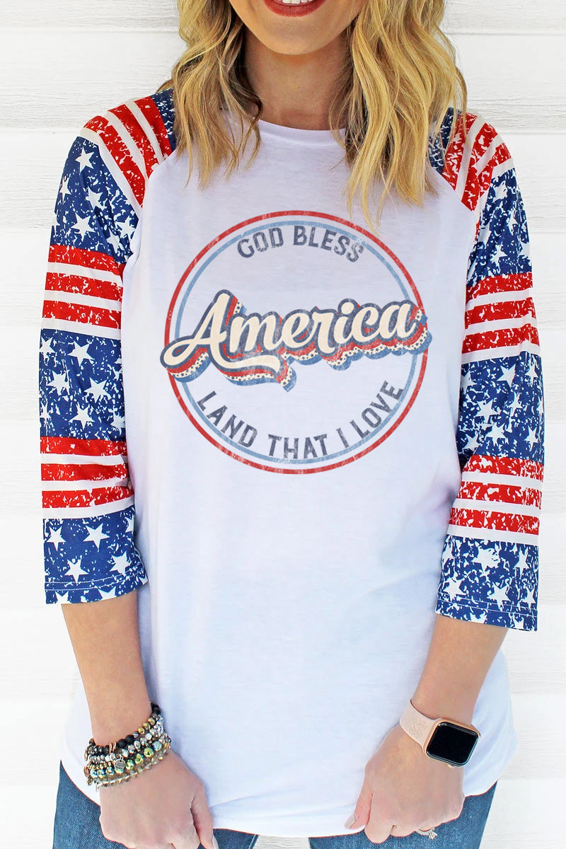 PRE-ORDER* Vintage God Bless America 3/4 Printed Sleeve Raglan Tee **EXPECTED SHIP DATE 4/15**