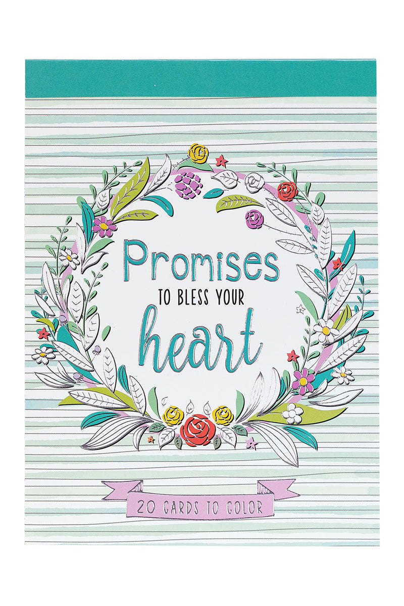 Set of 20 'Promises to Bless Your Heart' Cards to Color