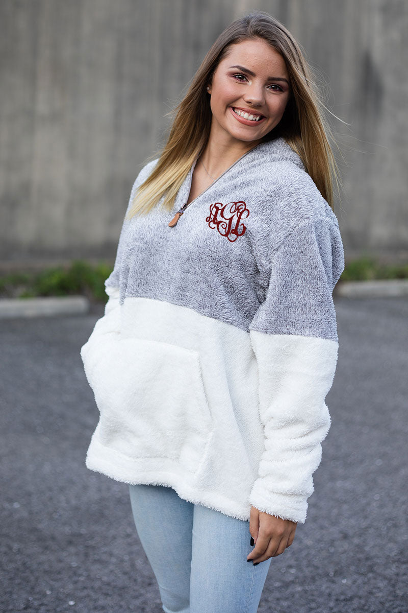 PRE-ORDER* Gray and White Colorblock 1/4 Zip Snowy Fleece with Front Pocket **EXPECTED SHIP DATE 8/30**