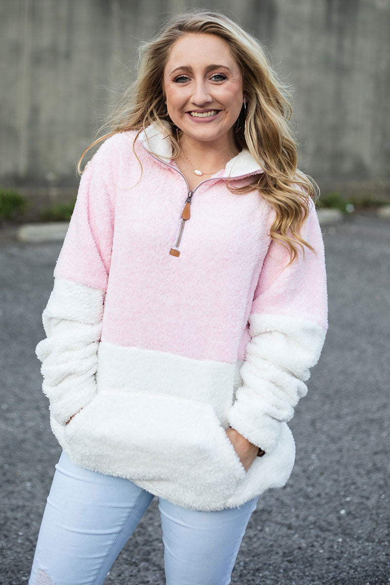 PRE-ORDER* Pink and White Colorblock 1/4 Zip Snowy Fleece with Front Pocket **EXPECTED SHIP DATE 8/30**