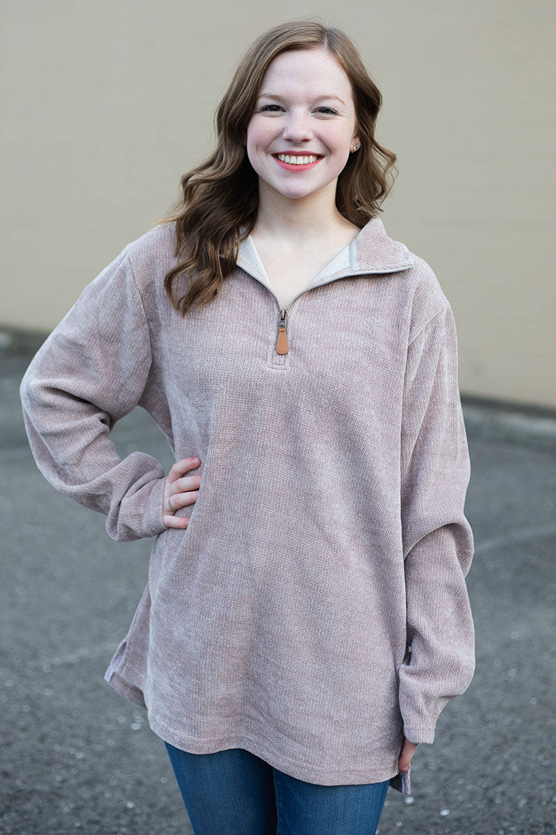 PRE-ORDER* Tan Chenille 1/4 Zip Pullover **EXPECTED SHIP DATE 8/30**