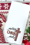 Cross Merry Christmas Buffalo Plaid Waffle Kitchen Towel