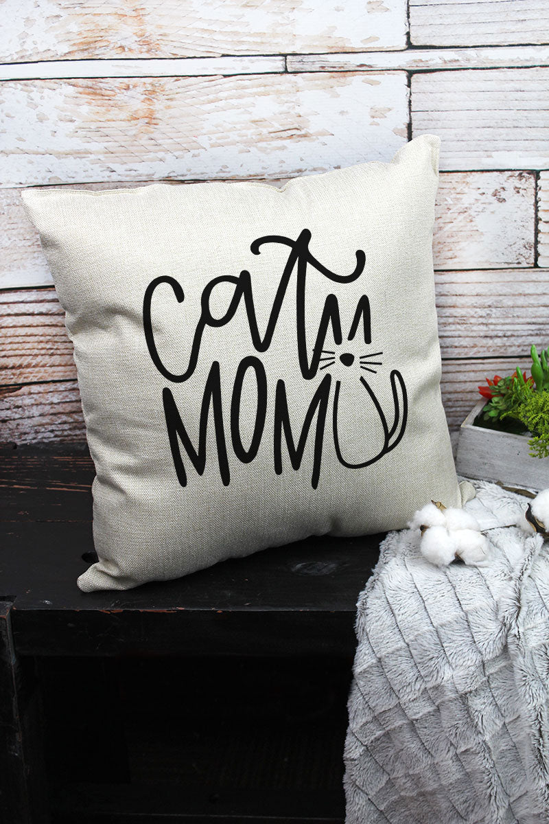 Cat Mom Decorative Pillow Cover