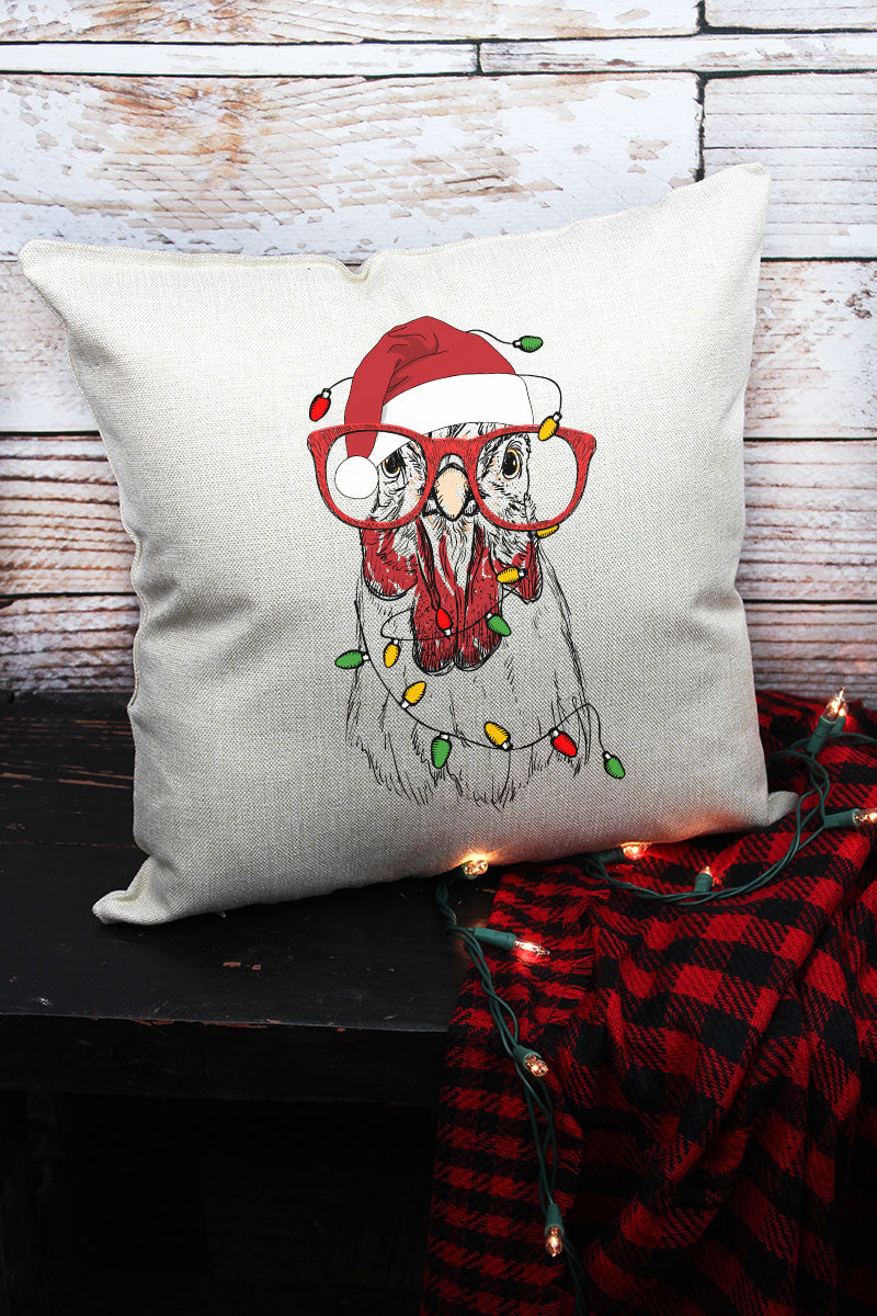 Chicken Christmas Decorative Pillow Cover