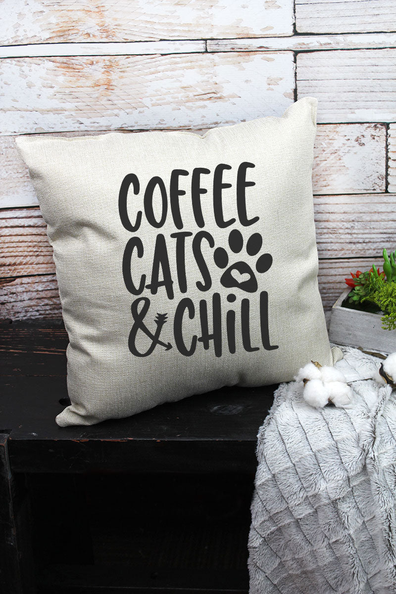 Coffee, Cats & Chill Decorative Pillow Cover