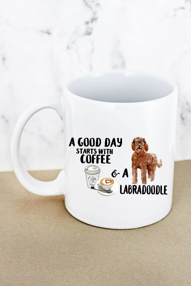Coffee And Labradoodle White Mug