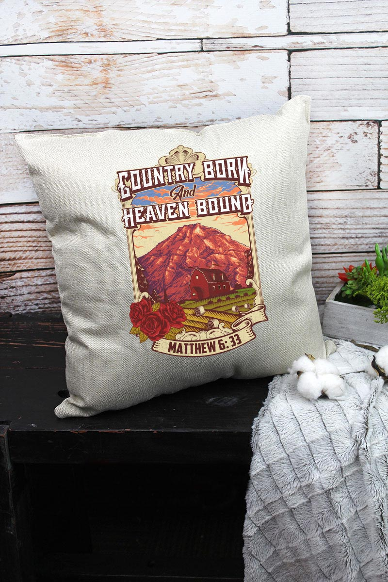 Country Born Heaven Bound Decorative Pillow Cover