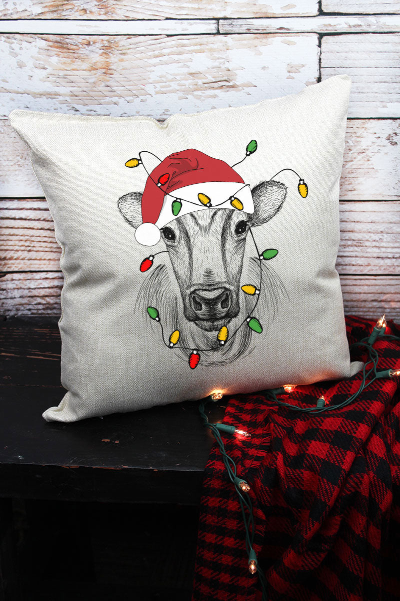 Cow Christmas Decorative Pillow Cover