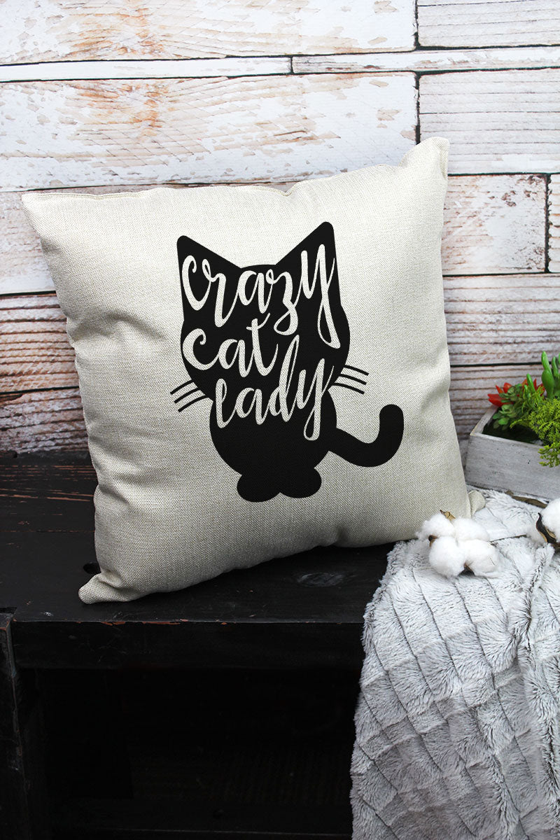 Crazy Cat Lady Decorative Pillow Cover
