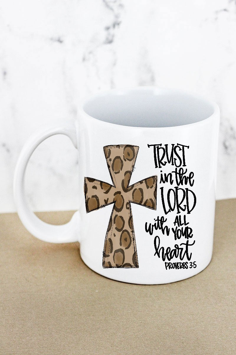 Cross Leopard Trust In The Lord White Mug