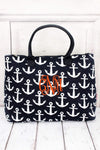 *Navy with White Anchors Quilted Large Shoulder Tote #DDT3907-NAVY - Wholesale Accessory Market