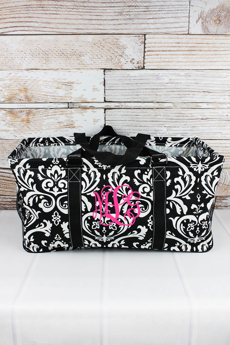 Damask Collapsible Haul-It-All Basket with Mesh Pockets