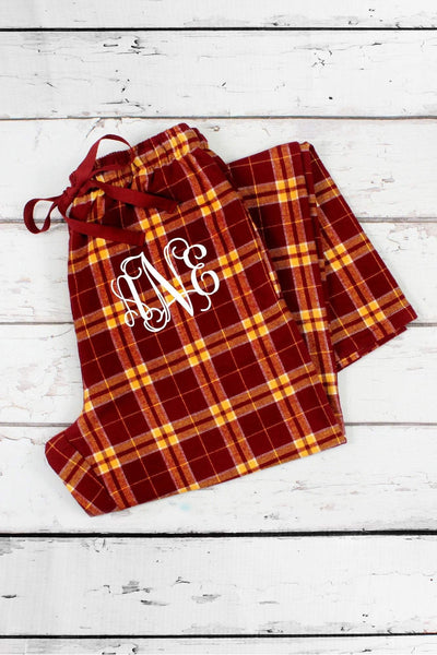 Garnet and Gold Plaid Flannel Pajama Pant #F20MG *Personalize It (PLEASE ALLOW 3-5 BUSINESS DAYS. EXPEDITED SHIPPING N/A) - Wholesale Accessory Market