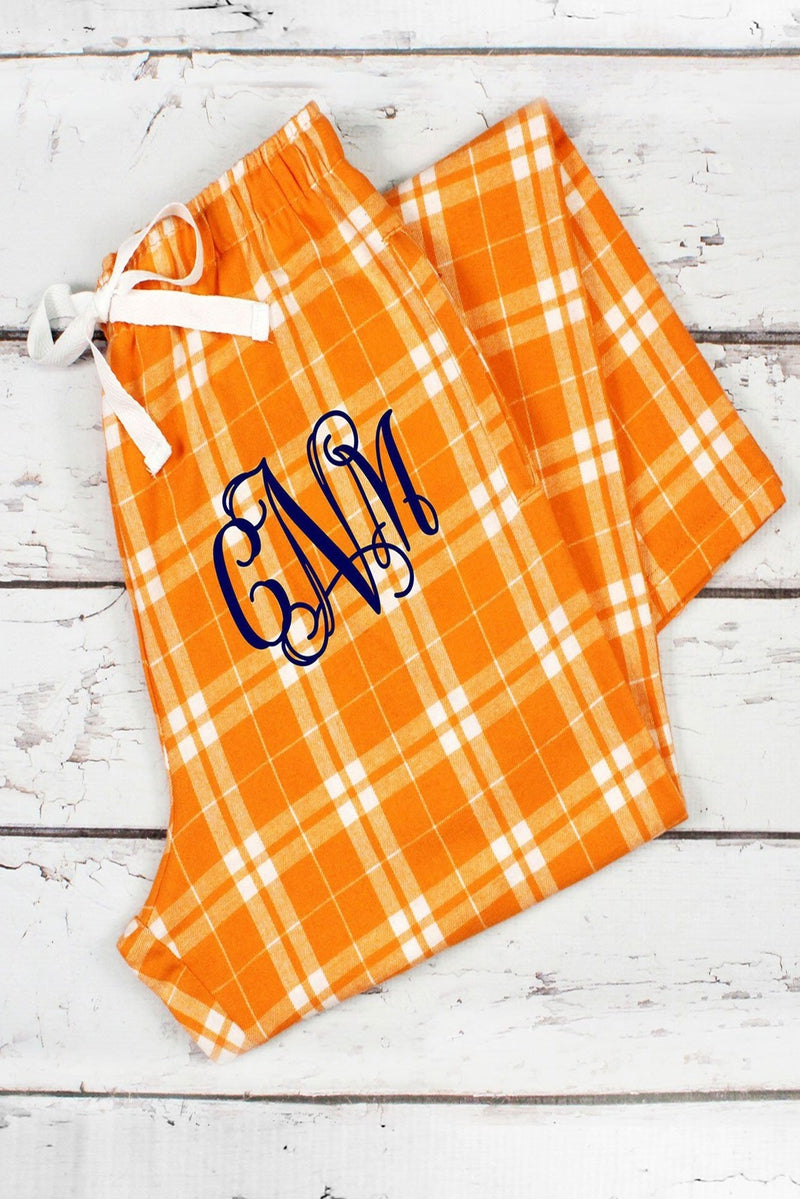 Orange and White Plaid Flannel Pajama Pant #F20OW *Personalize It