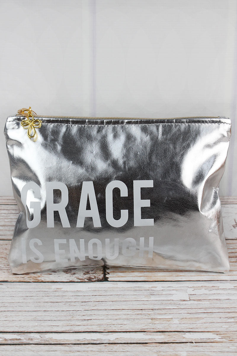 Metallic Silver 'Made To Shine' Zip Pouch