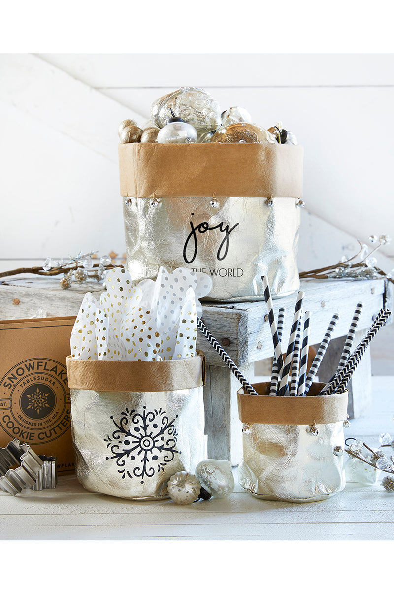 SALE! Joy To The World Metallic Champagne Washable Paper Holder