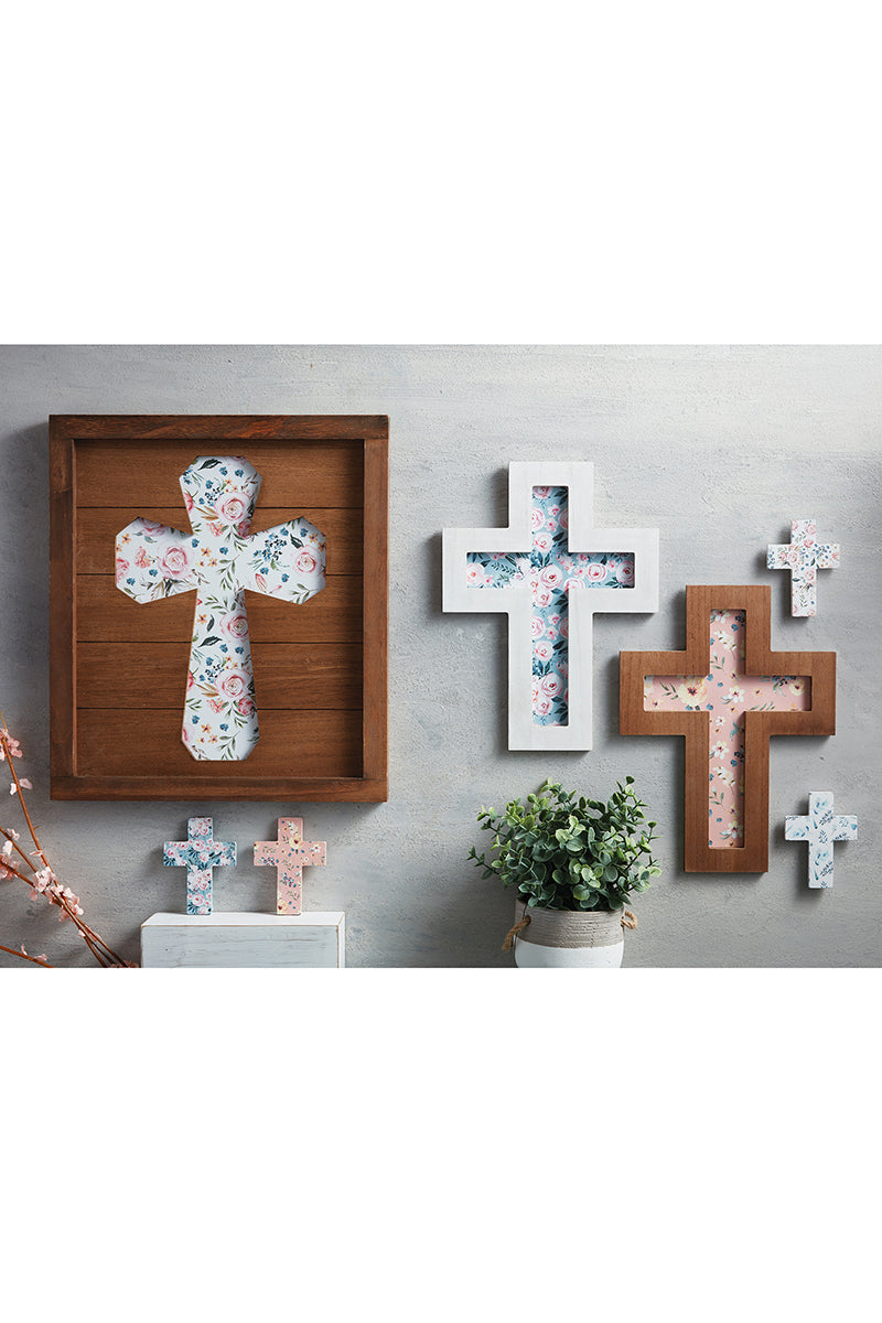 SALE! 12 x 9 Floral Cut-Out Wood Wall Cross
