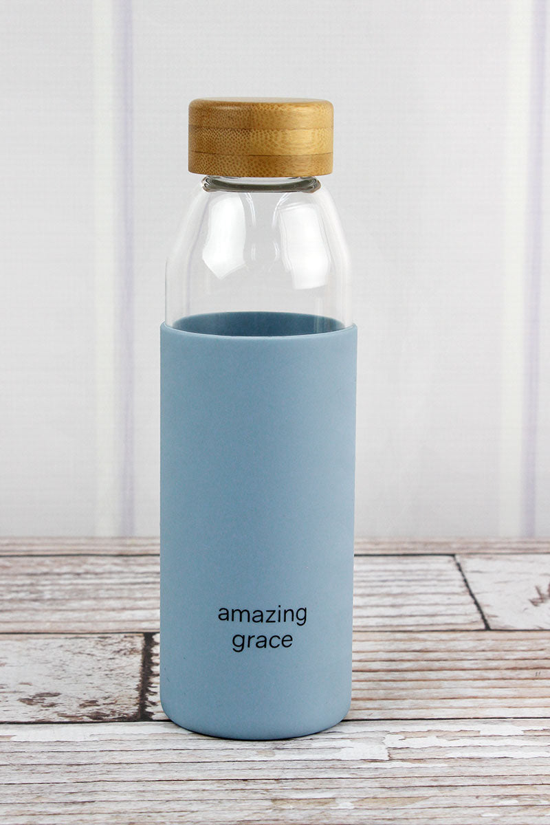Amazing Grace Glass Water Bottle with Bamboo Lid
