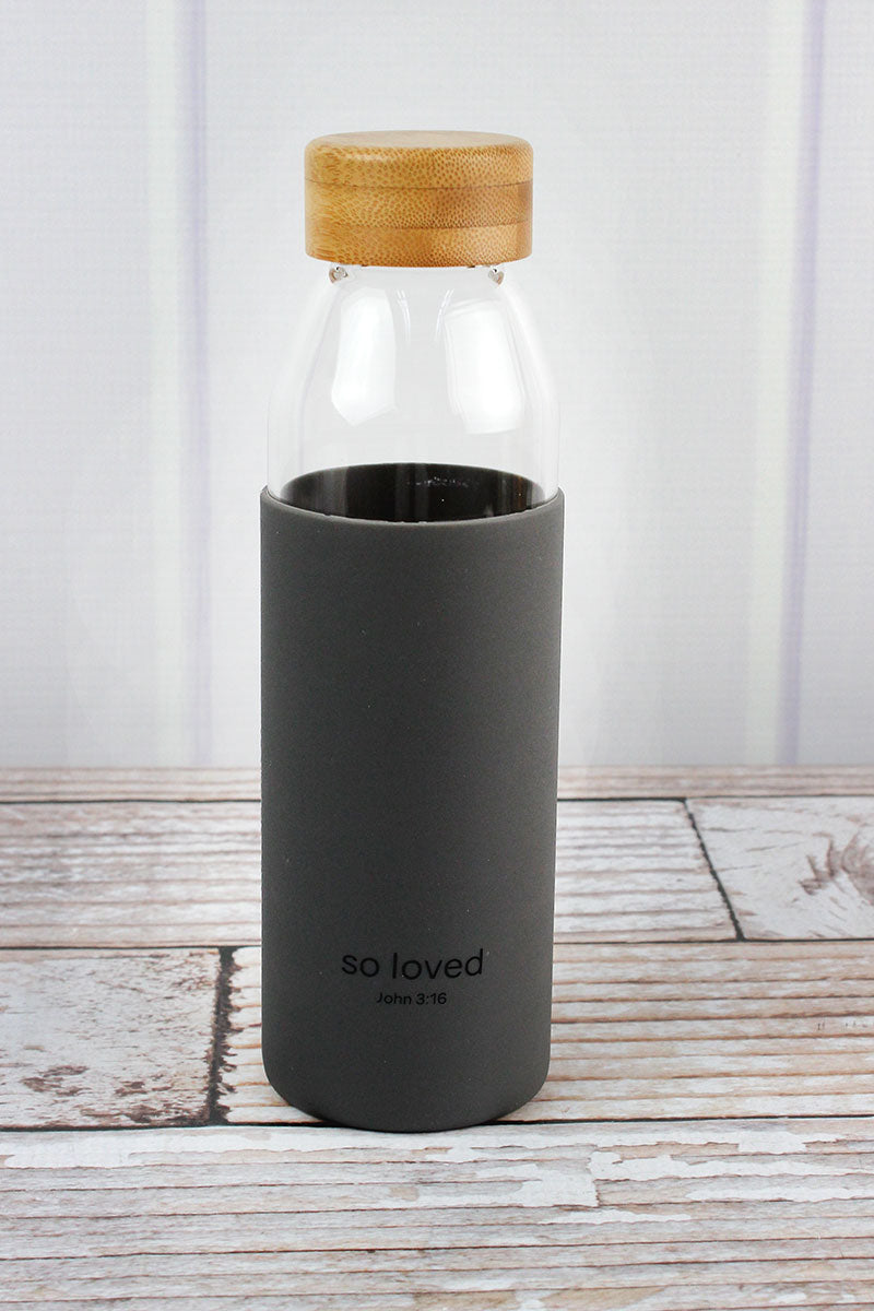 So Loved Glass Water Bottle with Bamboo Lid