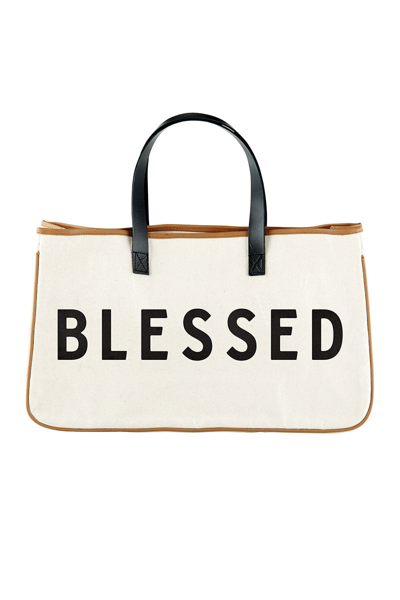 Canvas 'Blessed' Tote Bag