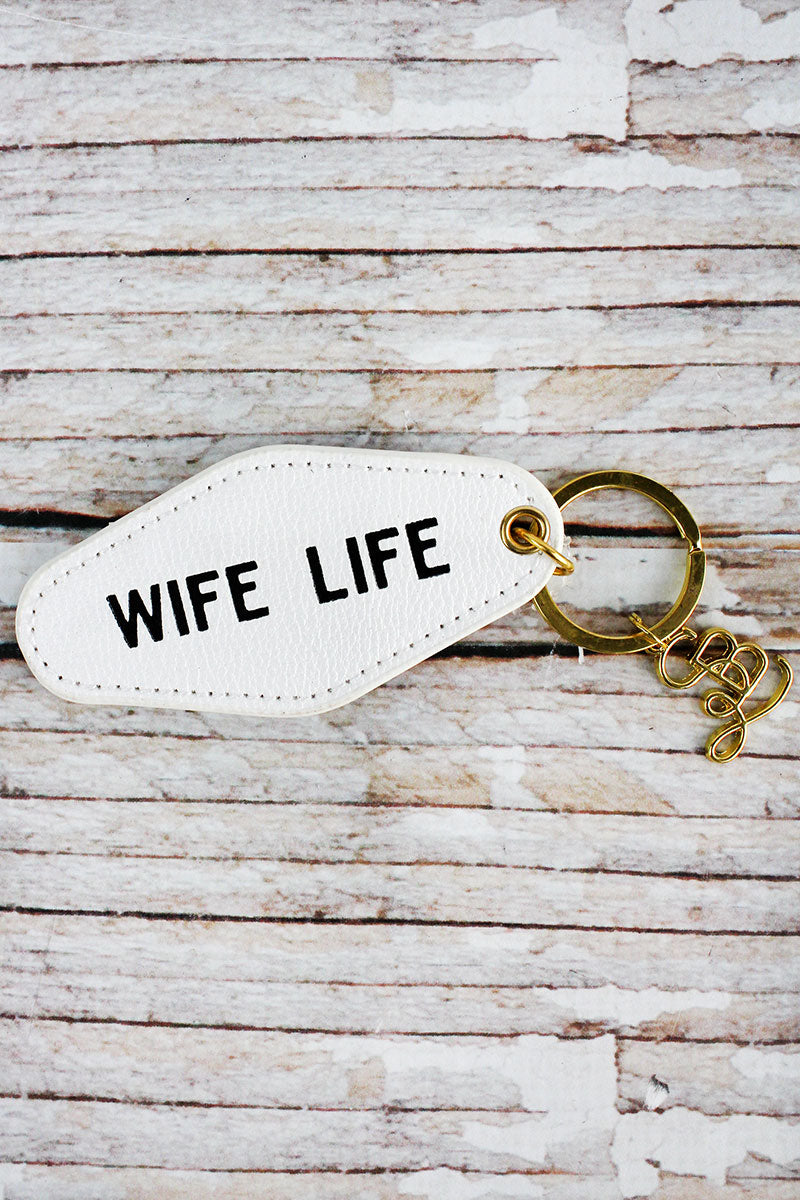 Wife Life Faux Leather Vintage Motel Key Tag
