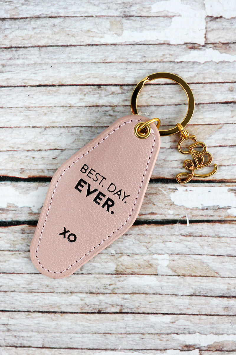 Best Day Ever Faux Leather Vintage Motel Key Tag