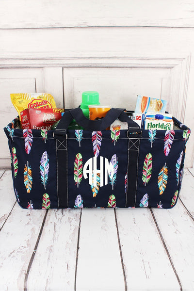 Fancy Feathers with Navy Trim Collapsible Haul-It-All Basket with Mesh Pockets #FEA603-NAVY
