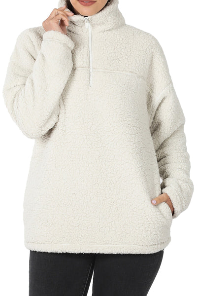 Bone Quarter Zip Soft Sherpa Pullover with Pockets