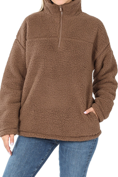 Mocha Quarter Zip Soft Sherpa Pullover with Pockets