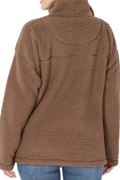 SALE! Mocha Quarter Zip Soft Sherpa Pullover with Pockets