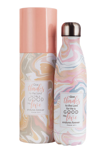 Psalm 107:1 'Give Thanks' Marble 17oz Stainless Steel Water Bottle