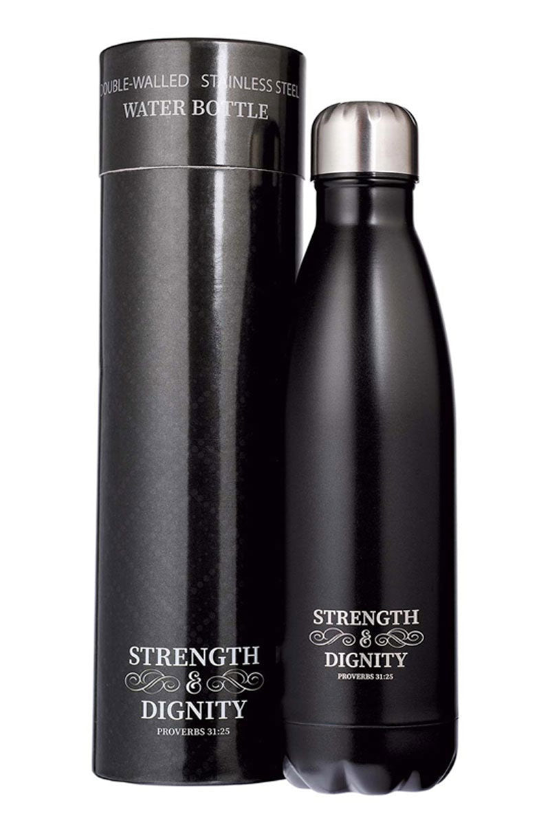 Proverbs 31:25 'Strength & Dignity' Black 17oz Stainless Steel Water Bottle