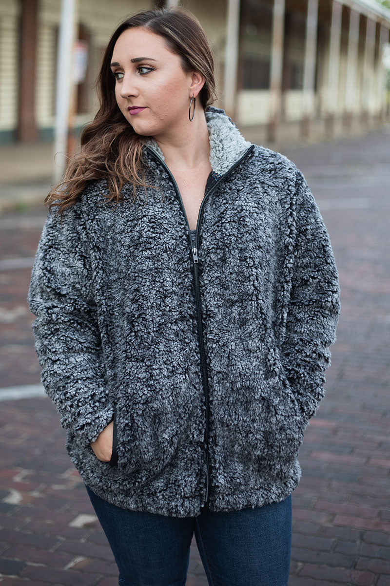 PRE-ORDER* Black Frosty Fleece Full Zip Sherpa with Pockets **EXPECTED SHIP DATE 8/30**