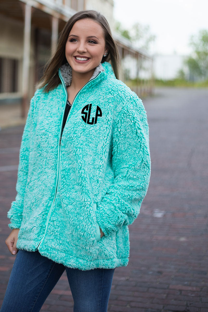 PRE-ORDER* Teal Frosty Fleece Full Zip Sherpa with Pockets **EXPECTED SHIP DATE 8/30**