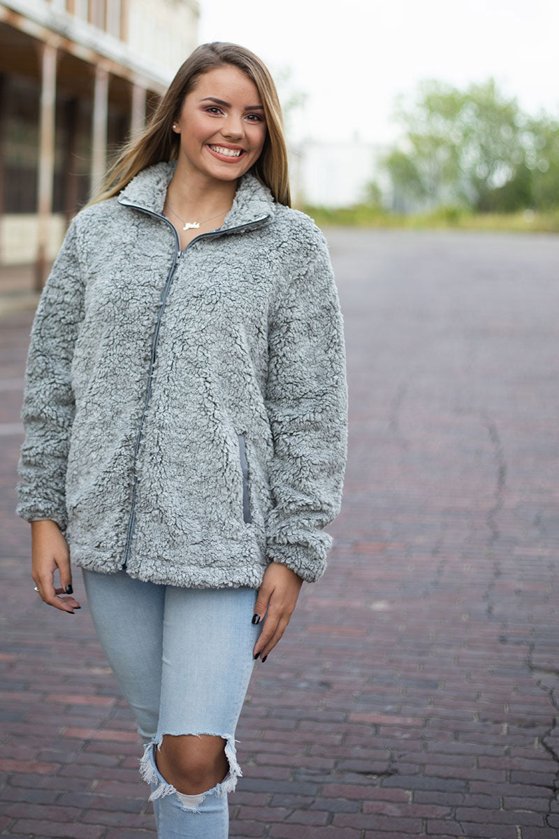 PRE-ORDER* Light Gray Frosty Fleece Full Zip Sherpa with Pockets **EXPECTED SHIP DATE 8/30**