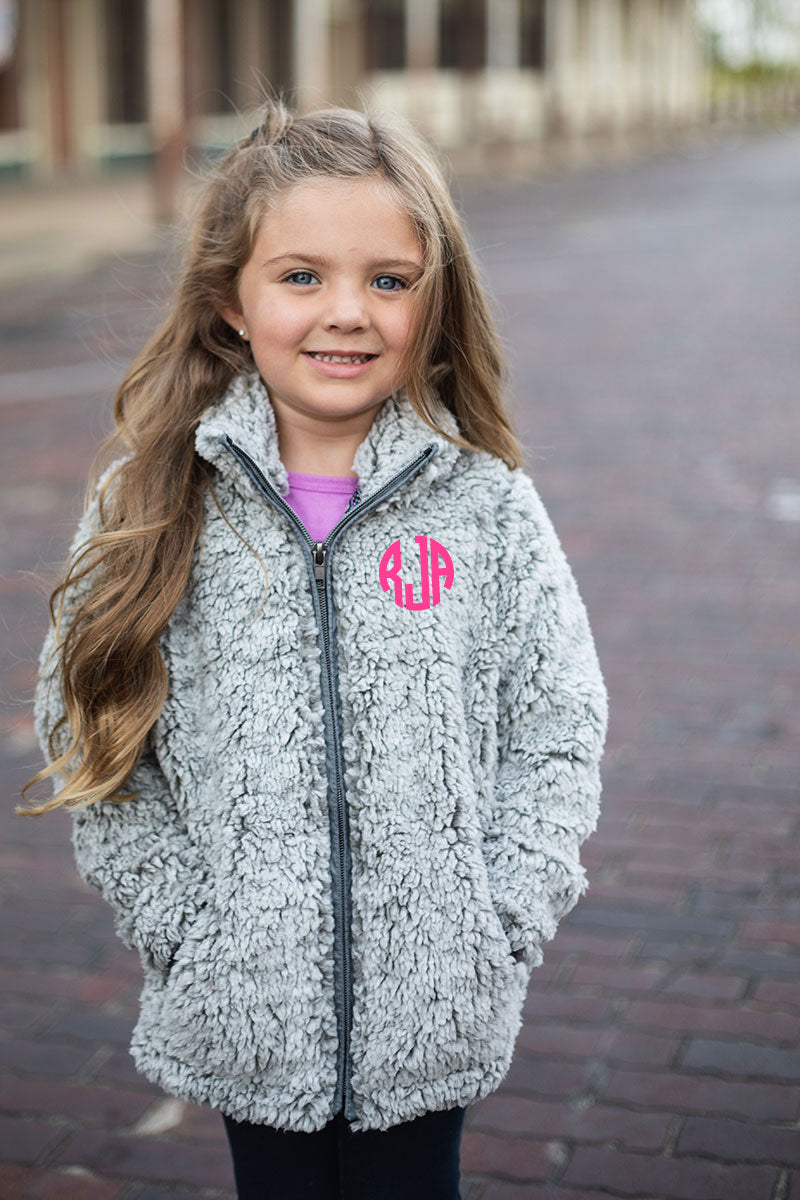 PRE-ORDER* Kid's Light Gray Frosty Fleece Full Zip Sherpa with Pockets **EXPECTED SHIP DATE 8/30**