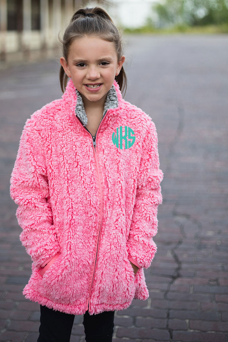 PRE-ORDER* Kid's Hot Pink Frosty Fleece Full Zip Sherpa with Pockets **EXPECTED SHIP DATE 8/30**