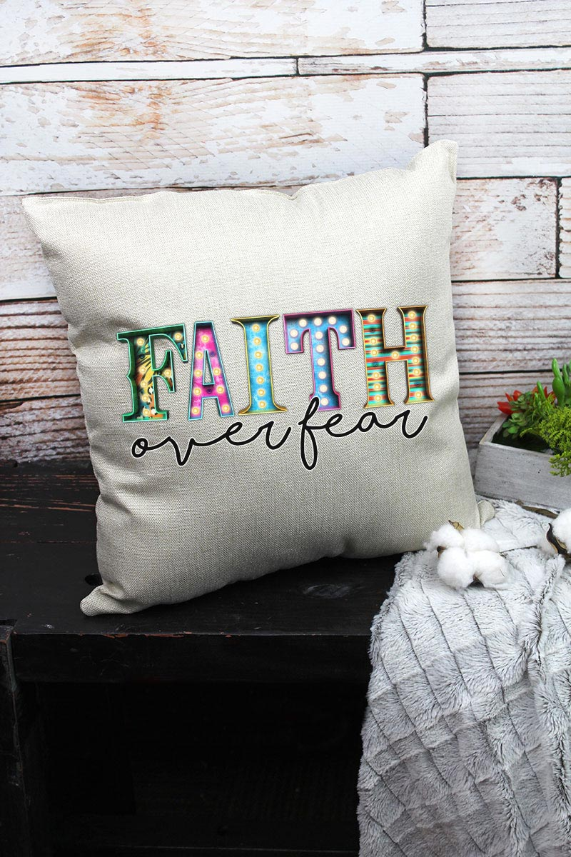 Faith Over Fear Decorative Pillow Cover
