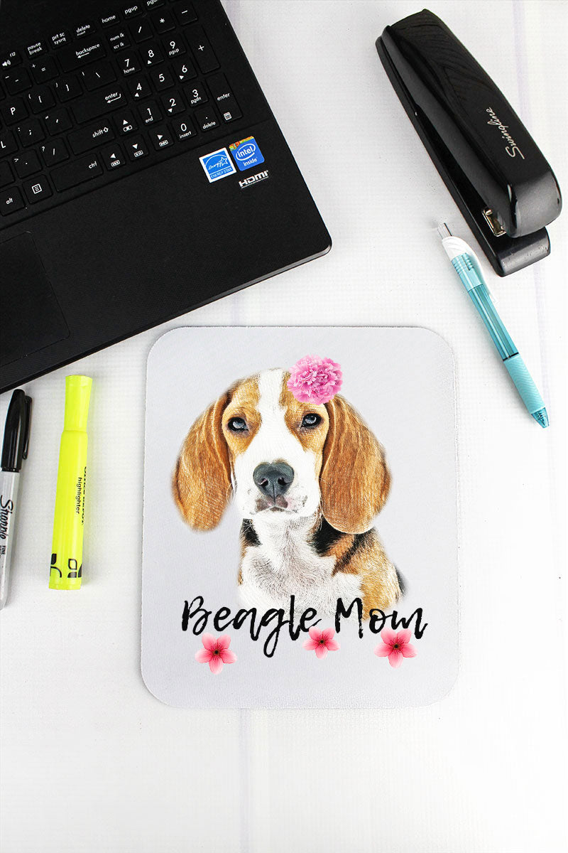 Floral Beagle Mom Mousepad
