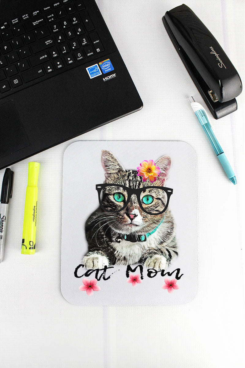 Floral Cat Mom Mousepad