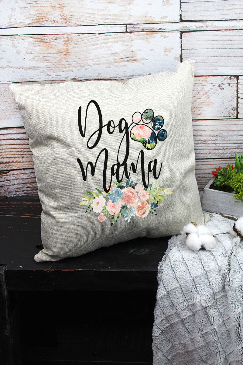 Floral Dog Mom Decorative Pillow Cover