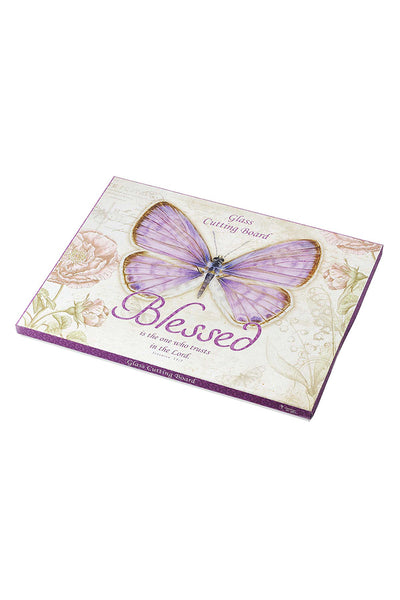 Jeremiah 17:7 'Blessed' Botanic Butterfly Blessings Large Glass Cutting Board