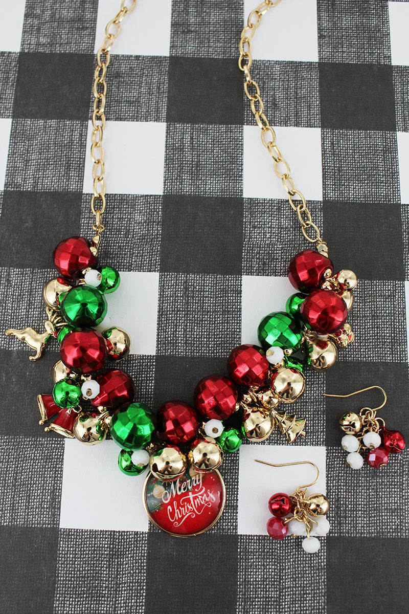 Red, Green, and Goldtone Beaded 'Merry Christmas' Bubble Charm Necklace and Earring Set